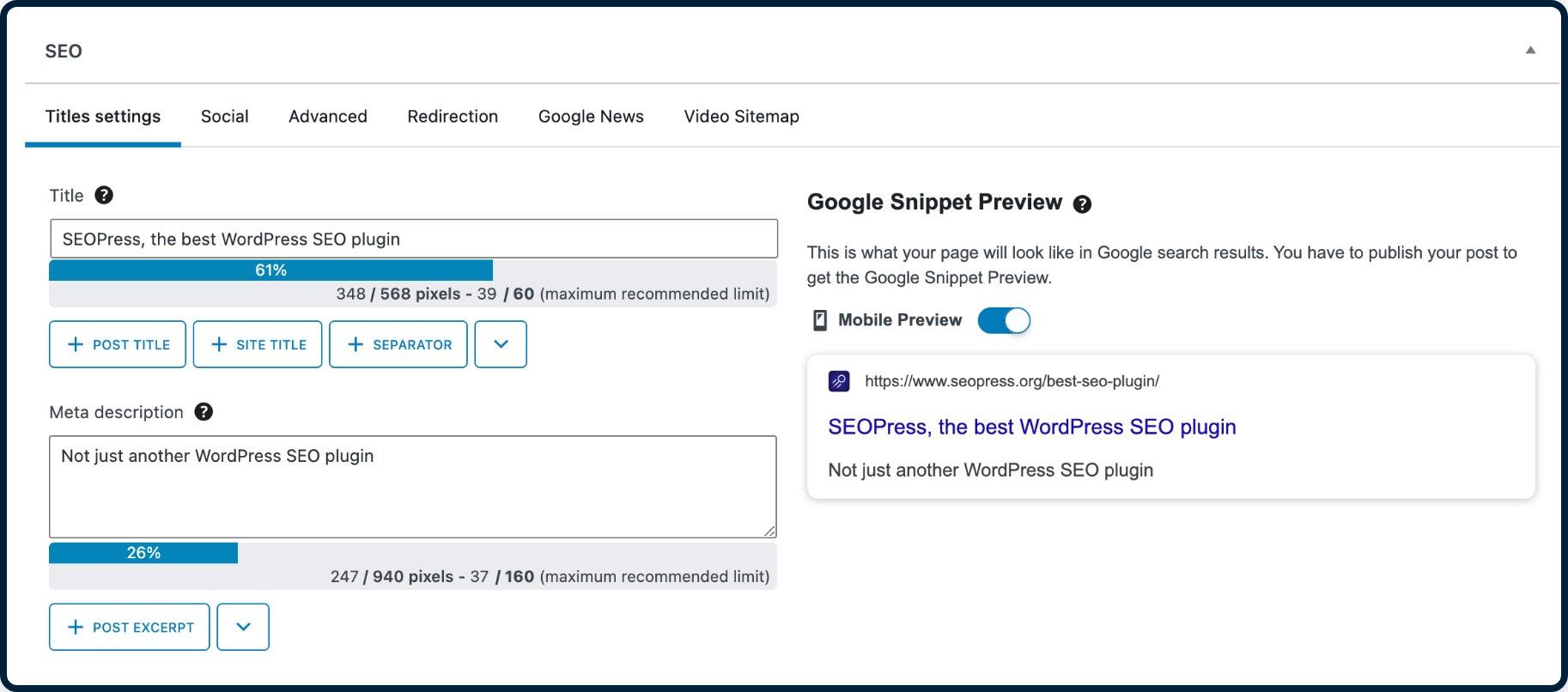 SEOPress integrado con el editor de bloques