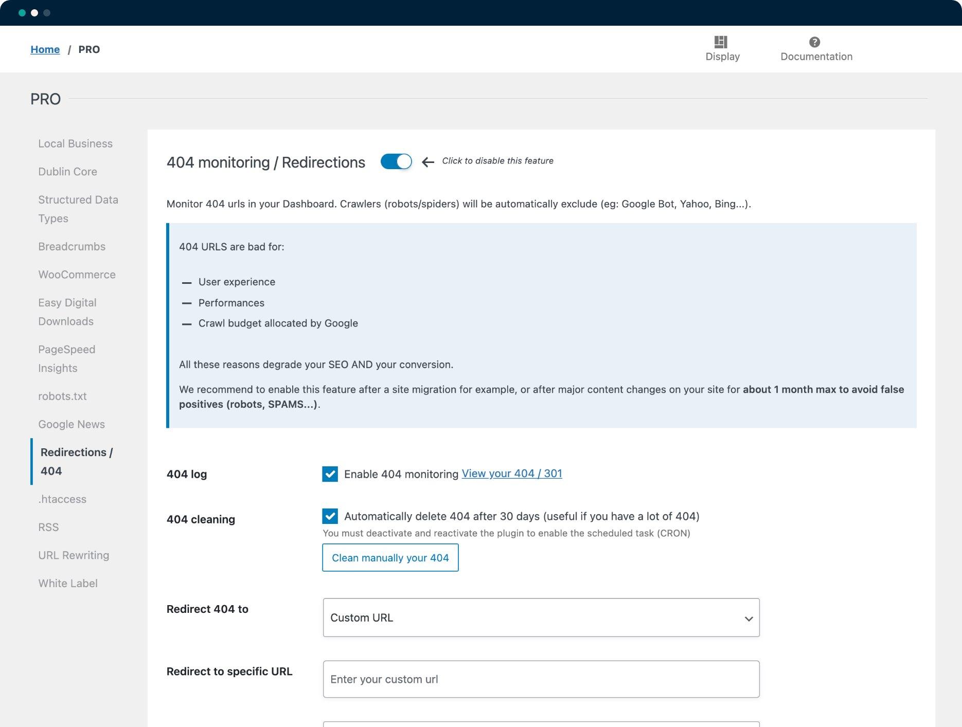 Configuración de supervisión y redirecciones 404 - SEOPress