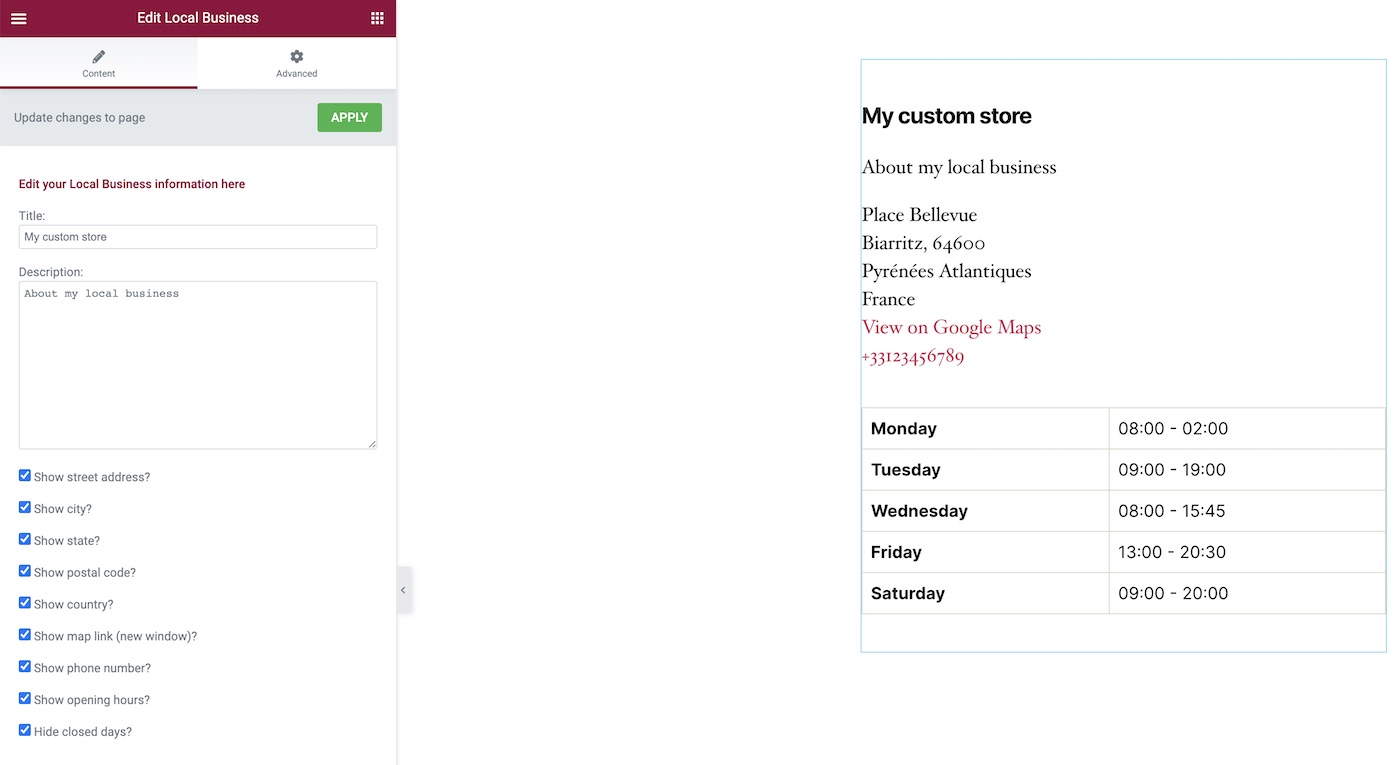 Widget SEOPress de empresas locales a través de Elementor