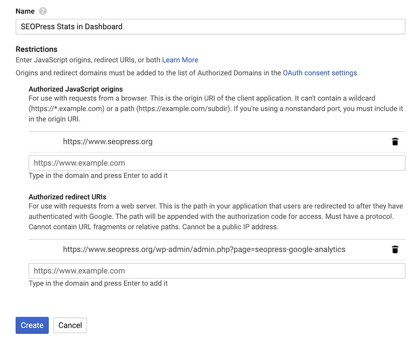 Google Analytics Manage - création des identifiants, ex avec seopress.org