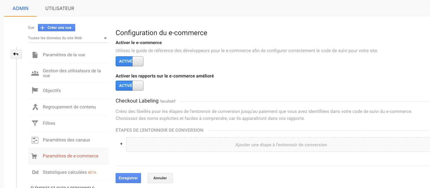 Configuration du e-commerce dans Google Analytics