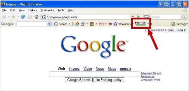 Google Page Rank toolbar