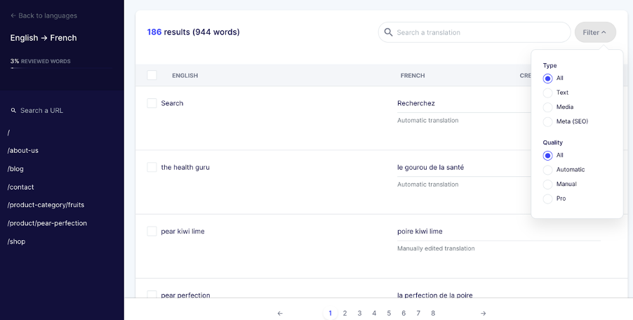 Interface de gestion des traductions de Weglot
