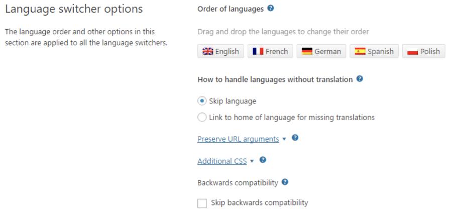 Réglages du sélecteur de langues de WPML