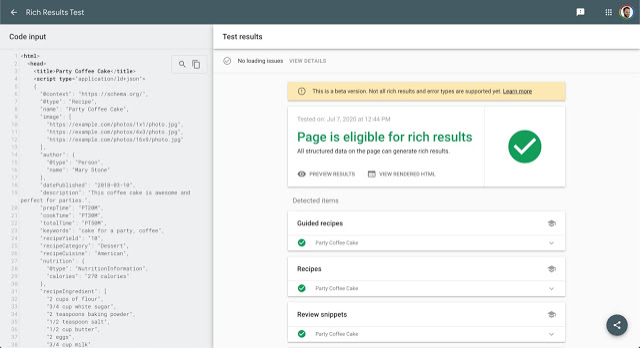 Google Rich Snippet Tool - Page éligible