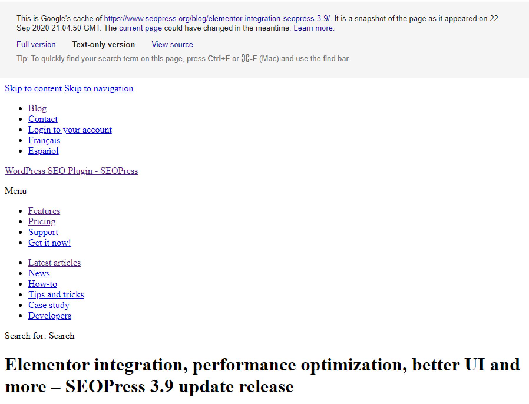 Version en texte seul du cache d'une page dans Google