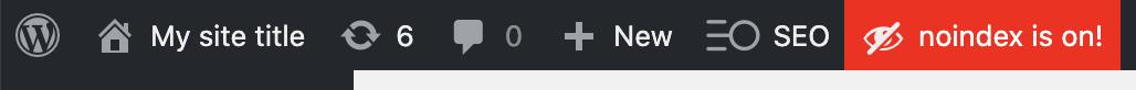 Alerte noindex depuis la barre d'admin de WordPress - SEOPress
