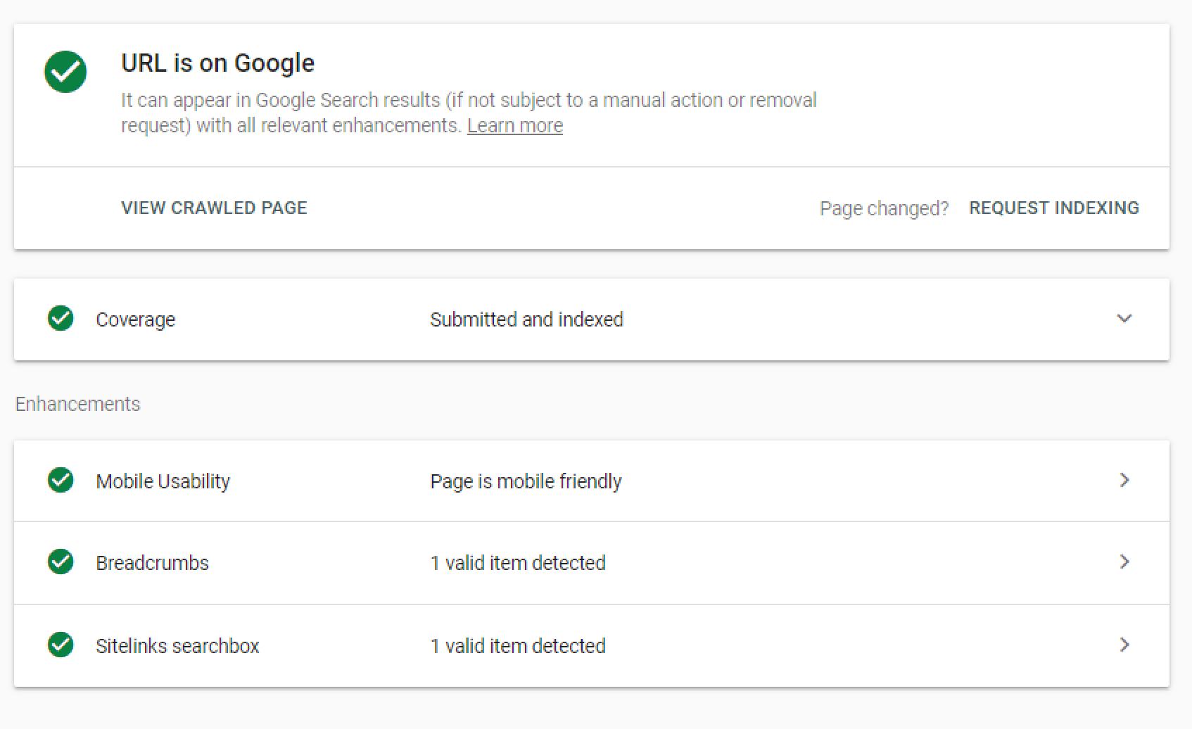 L'outil d'inspection de la GoogleSearchConsole peut servir à demander une indexation.
