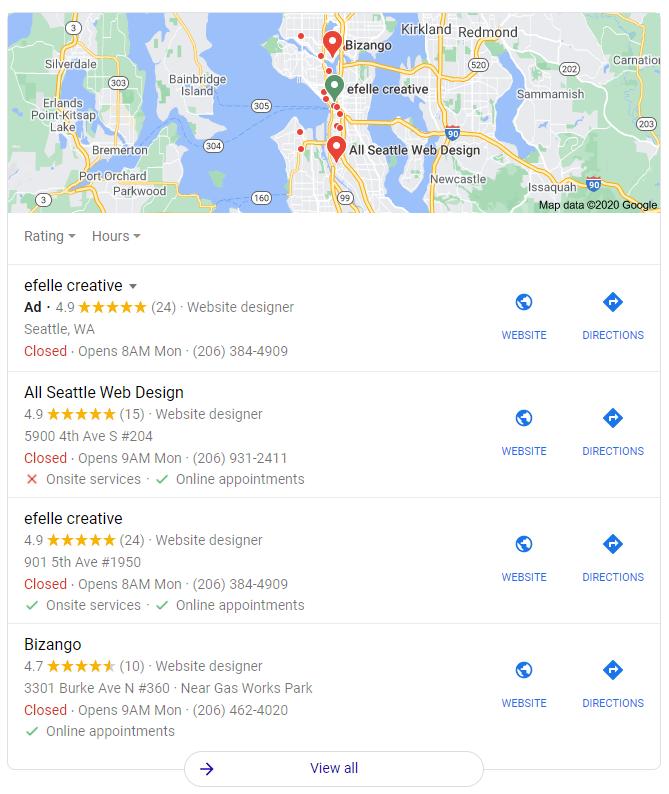 Résultats de la recherche « web design » dans Google.com pour une personne située à Seattle