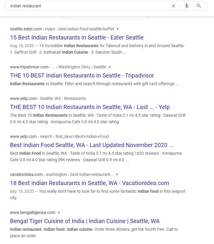 Résultats de la recherche « Indian restaurant » dans Google.com pour une personne se trouvant à Seattle