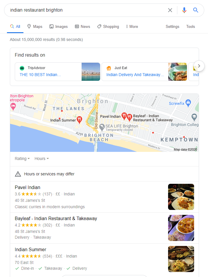 Résultat de la recherche « Indian restaurant » dans Google.co.uk d'un utilisateur se trouvant à Brighton en Angleterre.