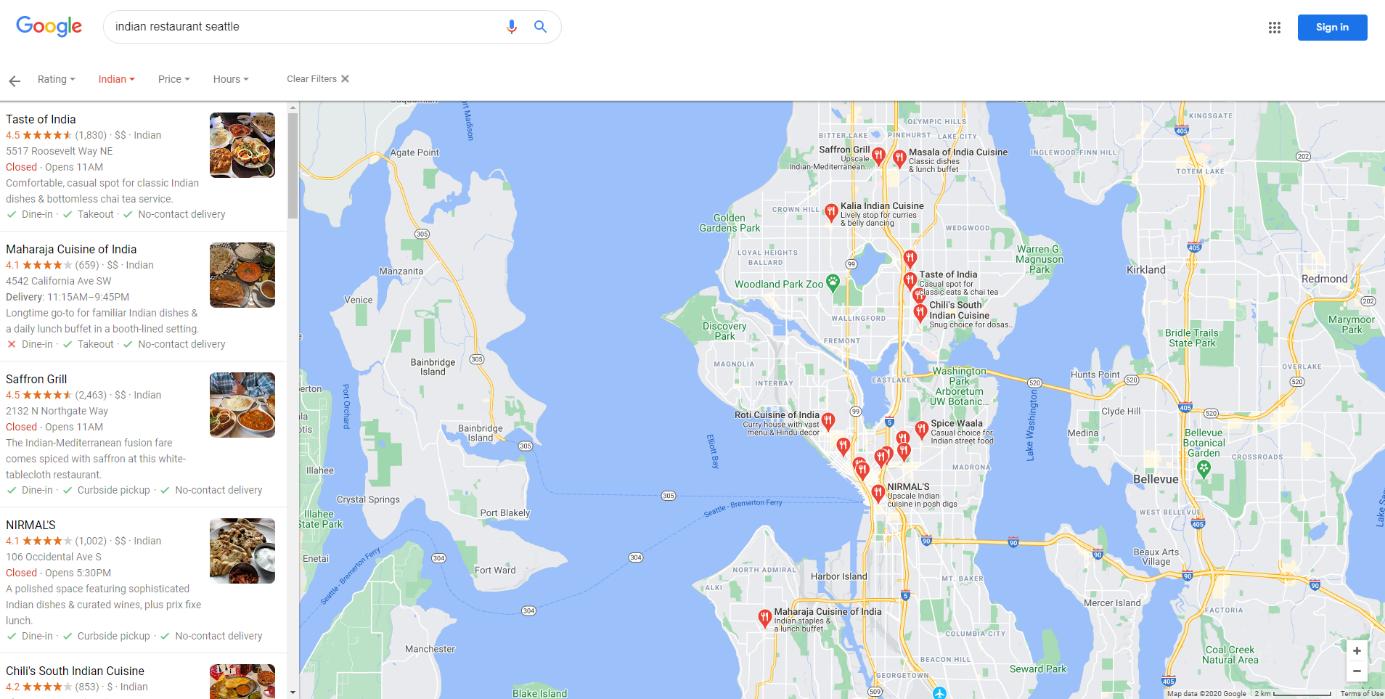 Résultats de recherche dans Google Maps