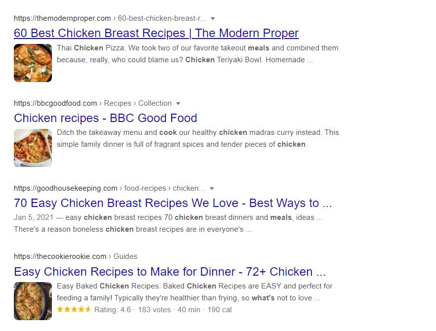Résultats de recherches sur Google.co.uk. Trois résultats affichent des extraits enrichis provenant du schéma Recipe (Recette). Un résultat n'en a pas.