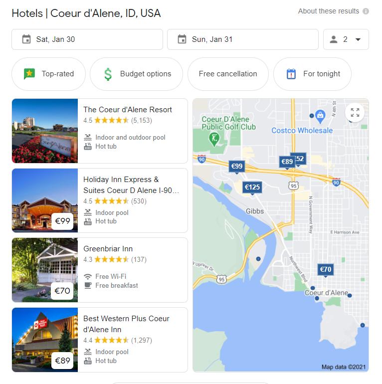 Résultats de recherche d'hôtel Google dans les SERP