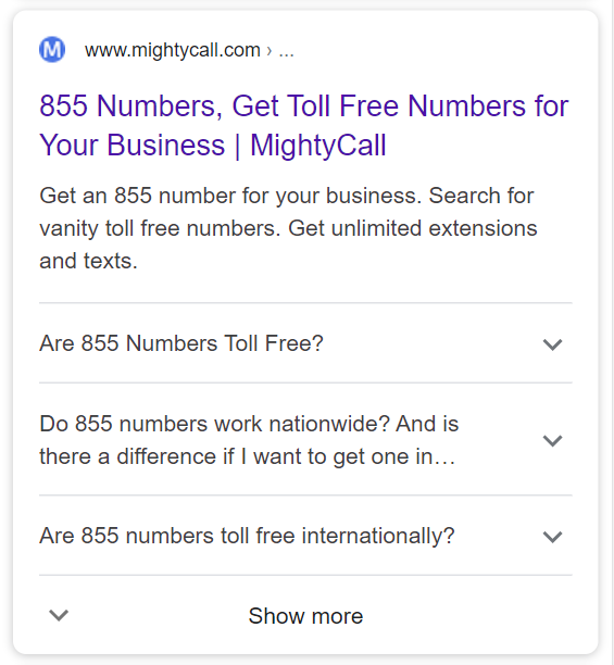 https://www.mightycall.com/855numbers/ utilise le schéma FAQ.