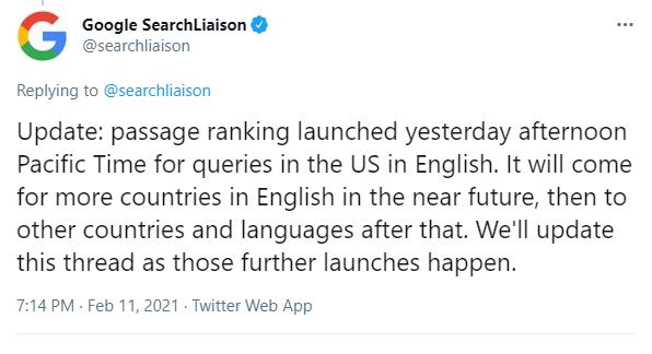 Annonce du lancement de Passage Ranking par Google Search Liaison.