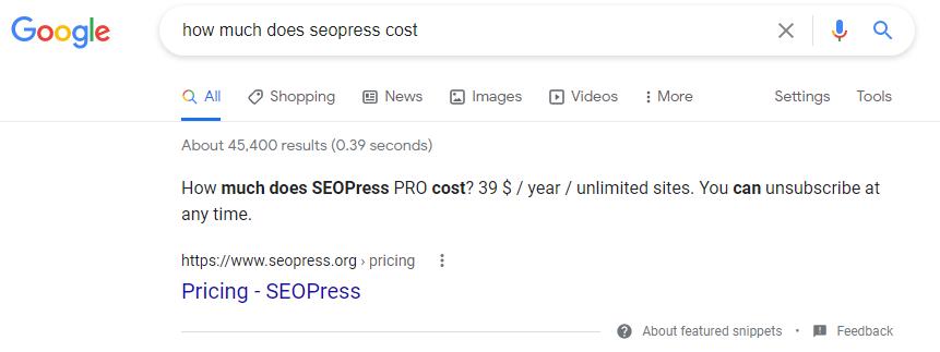 Exemple d'extrait optimisé dans les résultats de recherche Google