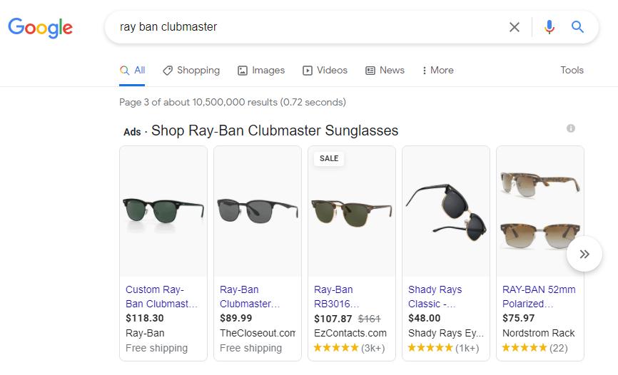 Capture d'écran des résultats de recherche Google avec les publicités Google Shopping