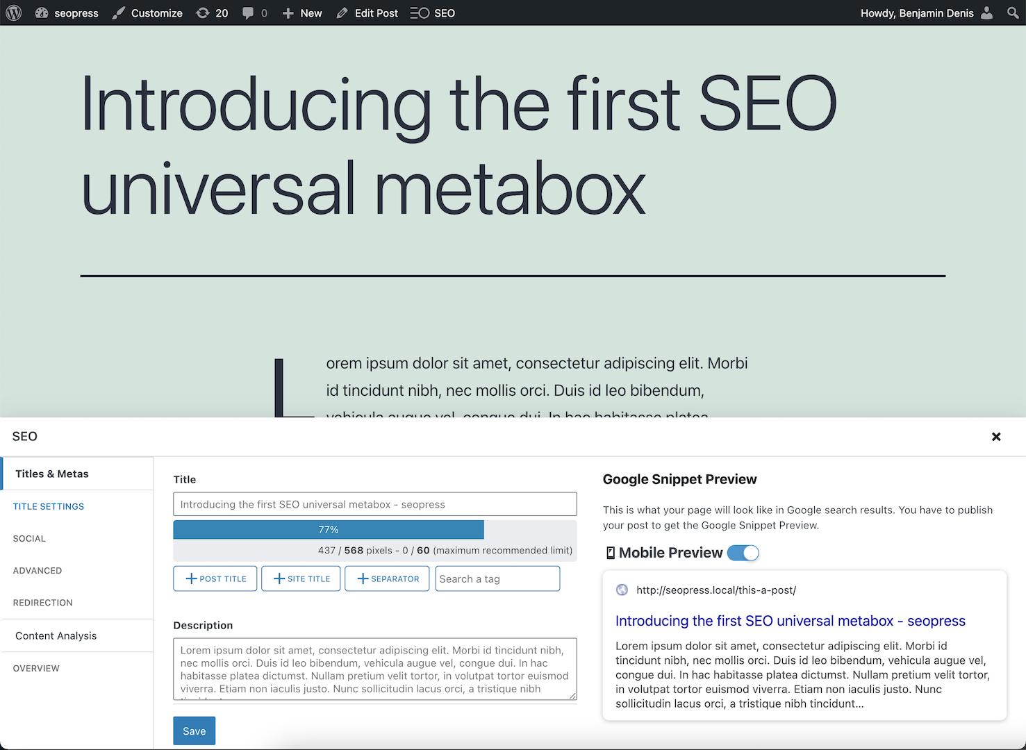 SEOPress universal SEO metabox sans éditeur