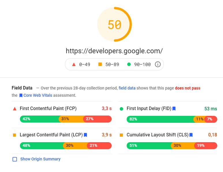Rapport PageSpeed Insights pour la page d'accueil Google Developers