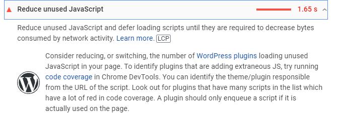 3 reduce unused javascript
