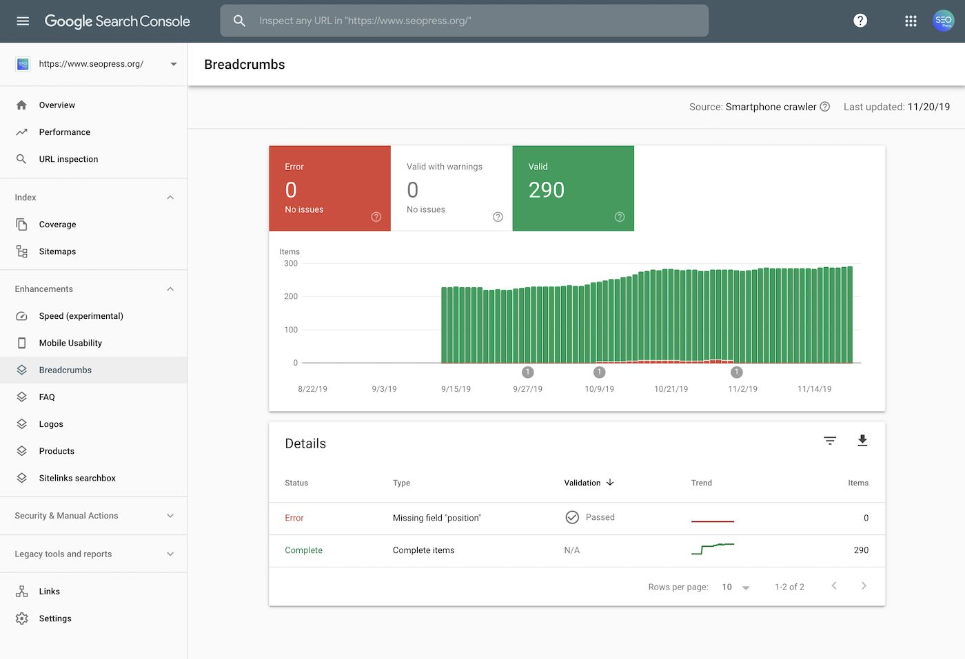 Search Console Breadcrumbs