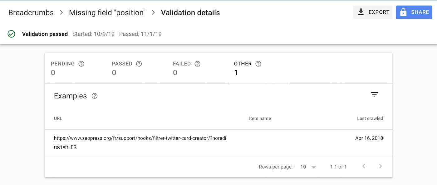 Search Console Validation Process