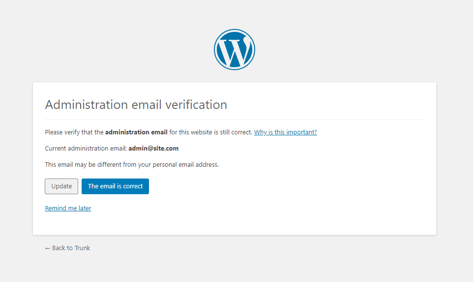 WordPress Admin Email Verification Screen
