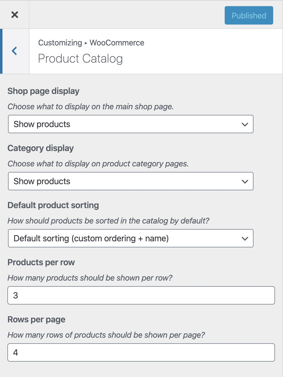 WooCommerce Product Catalog options from the Customizer