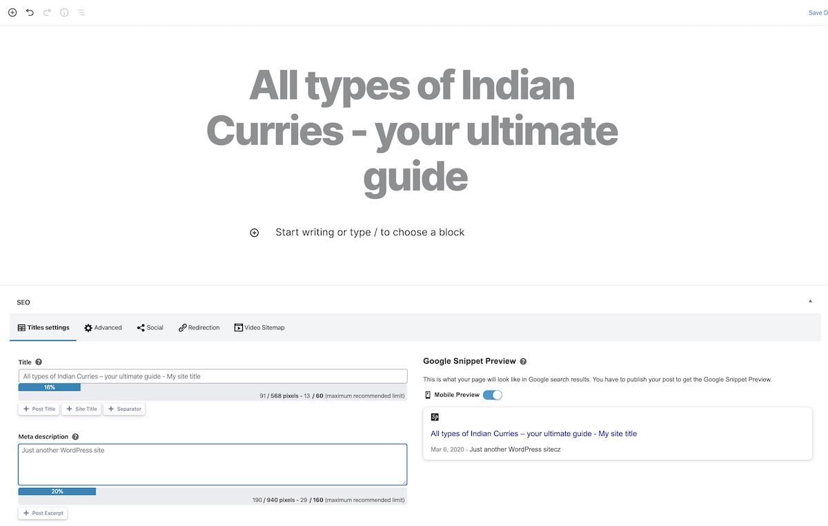 Add Post Title Block Editor