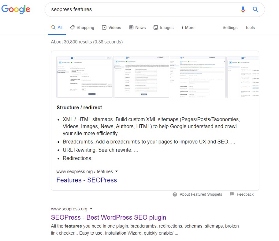 SEOPress Featured Snippets