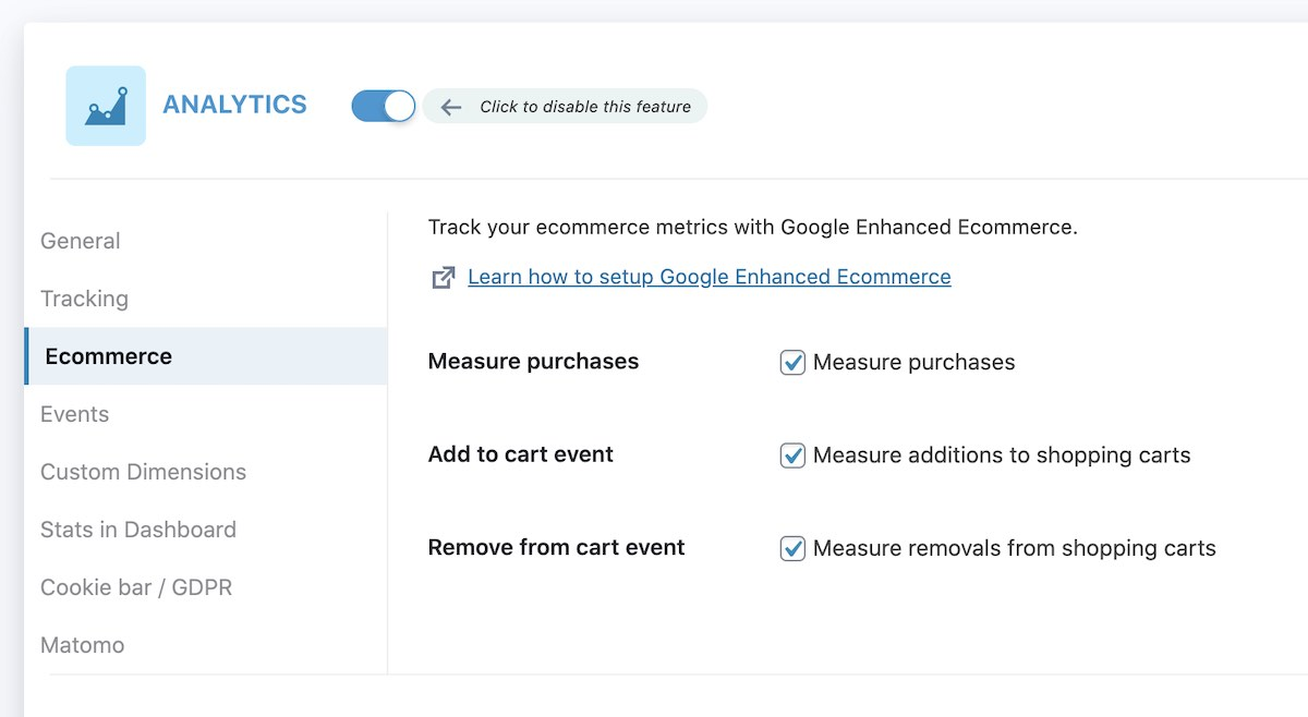 SEOPress - Google Ecommerce options