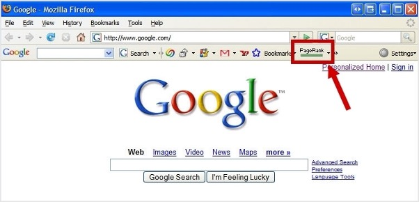 Google Page Rank toolbar