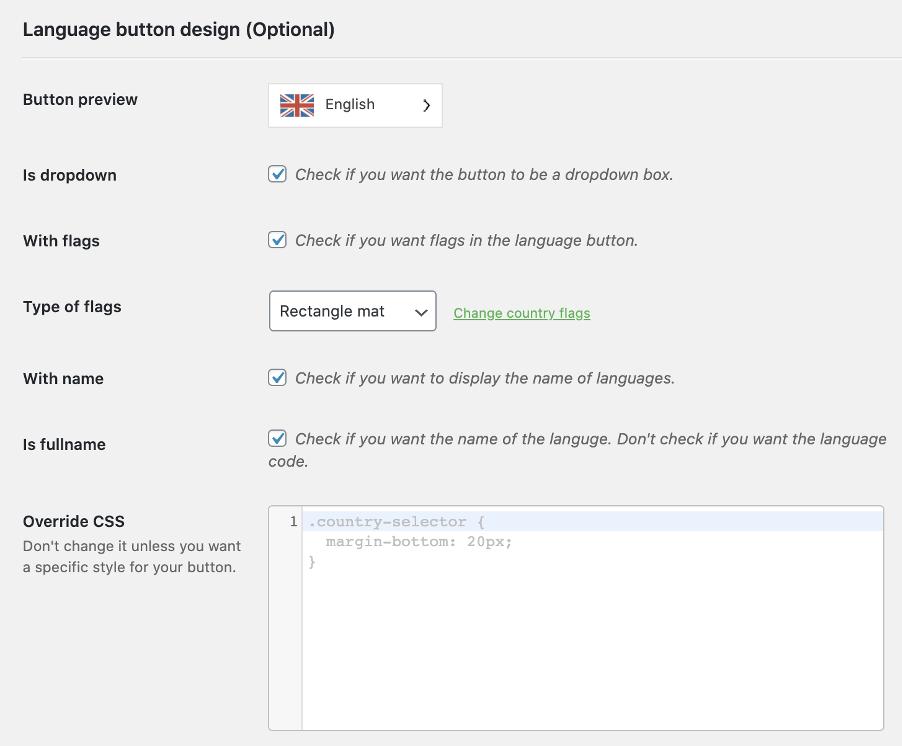Weglot Language Switcher Settings
