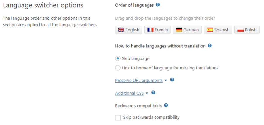 WPML Language Switcher Settings