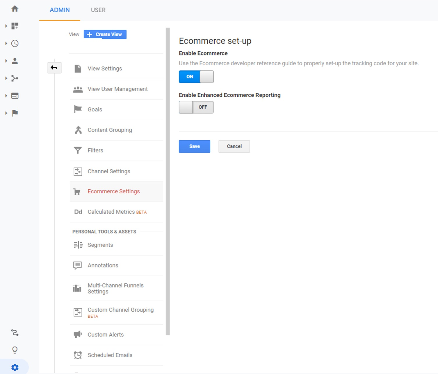 Google Enhanced Ecommerce Settings