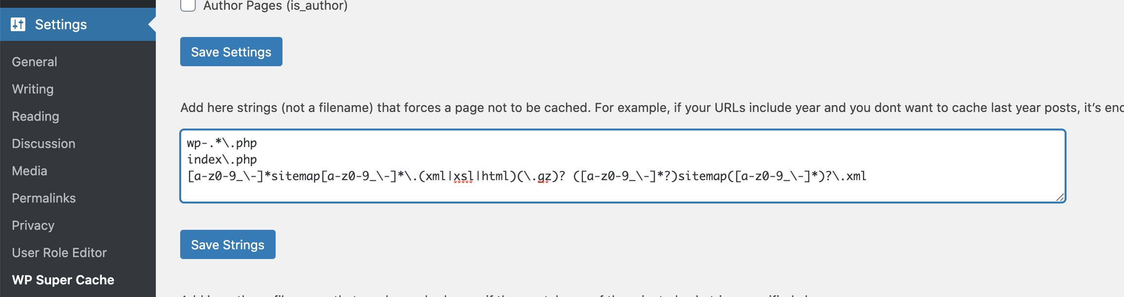 WP Super Cache - Exclude sitemaps from caching