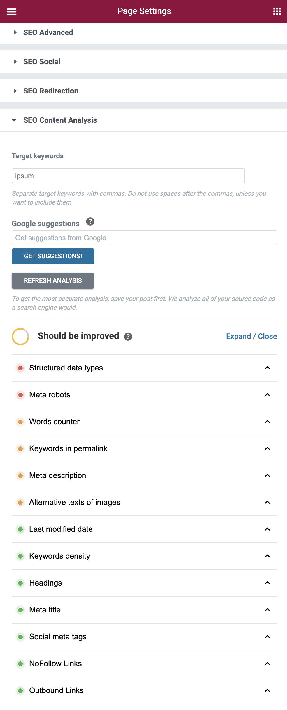 Elementor Integration Content Analysis - SEOPress