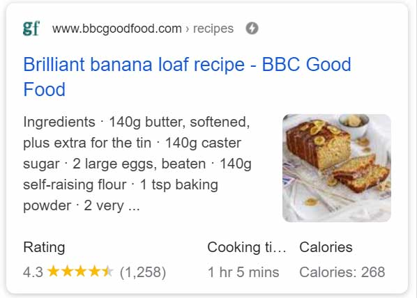 Enriched snippet from mobile SERP