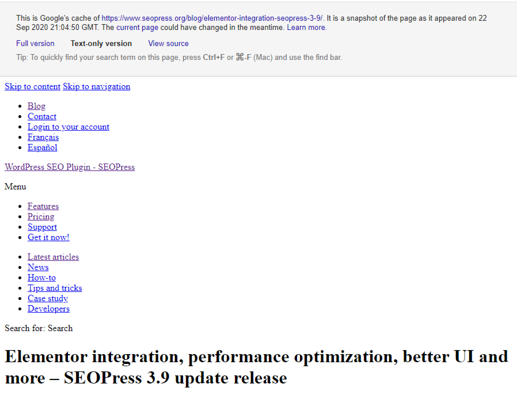 Text-only version of Google's cache of a page