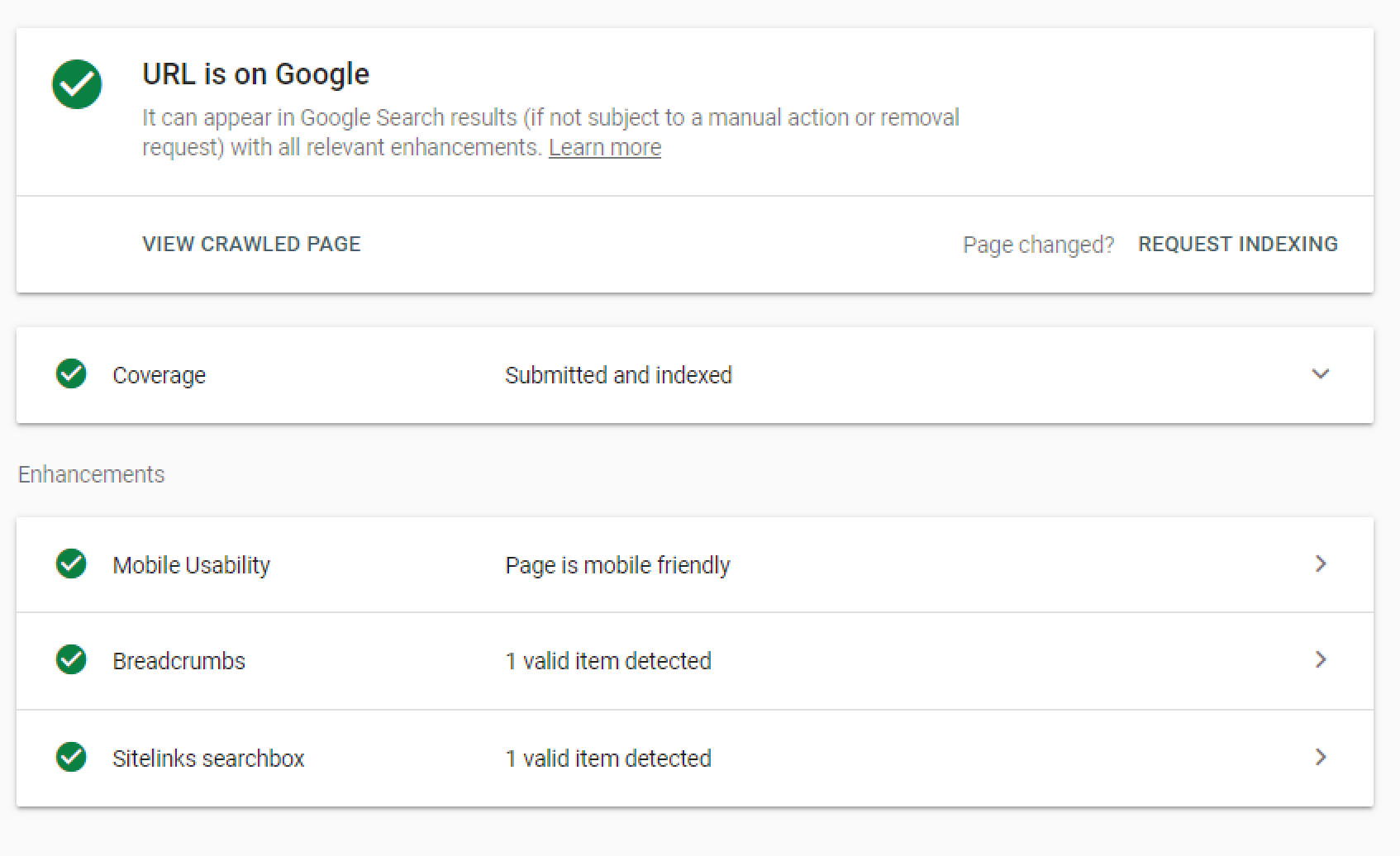 The Google Search Console inspection tool can be used to request indexing