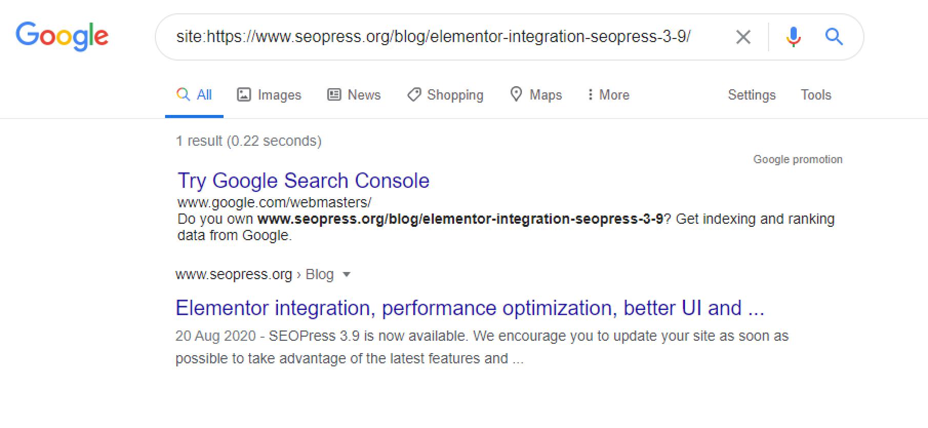 Search on Google using site:https://www.seopress.org/blog/elementor-integration-seopress-3-9/