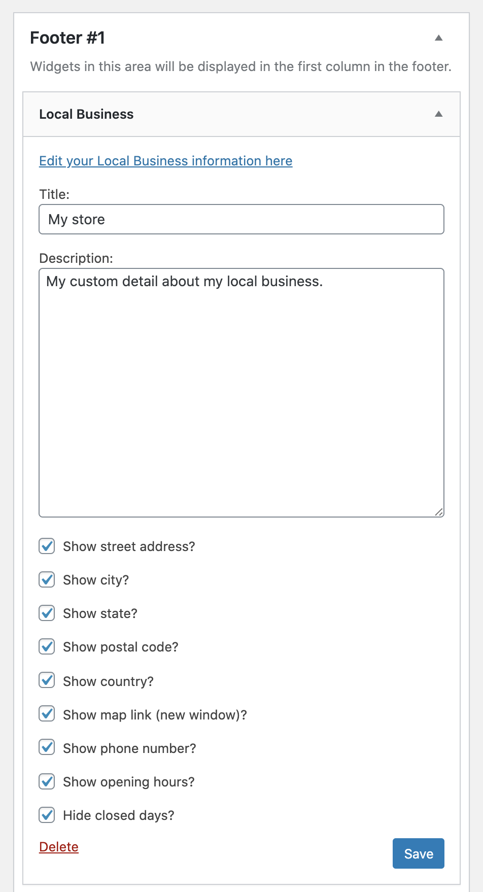 Local Business widget settings - SEOPress