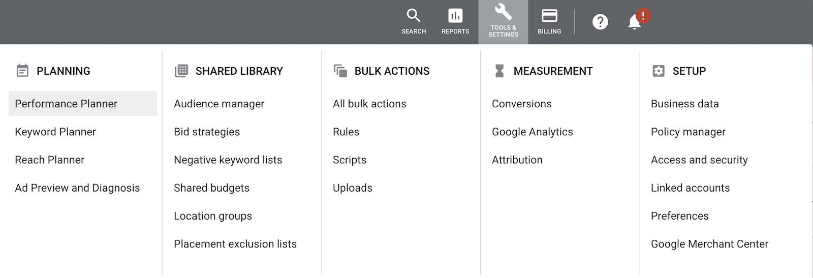 Google Ads - Tools & Setting menu