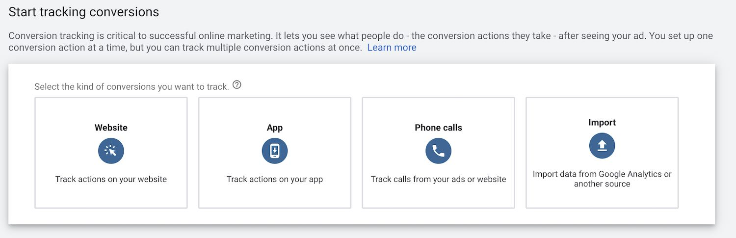 Google Ads - Start tracking conversions