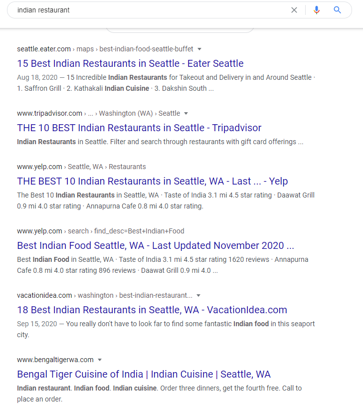 "Search results for ""Indian restaurant"" in Google.com for a user in Seattle"