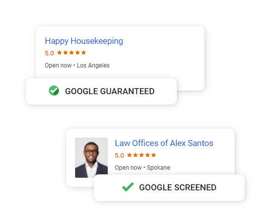 Screen shot from Google's Local Service Ads website.