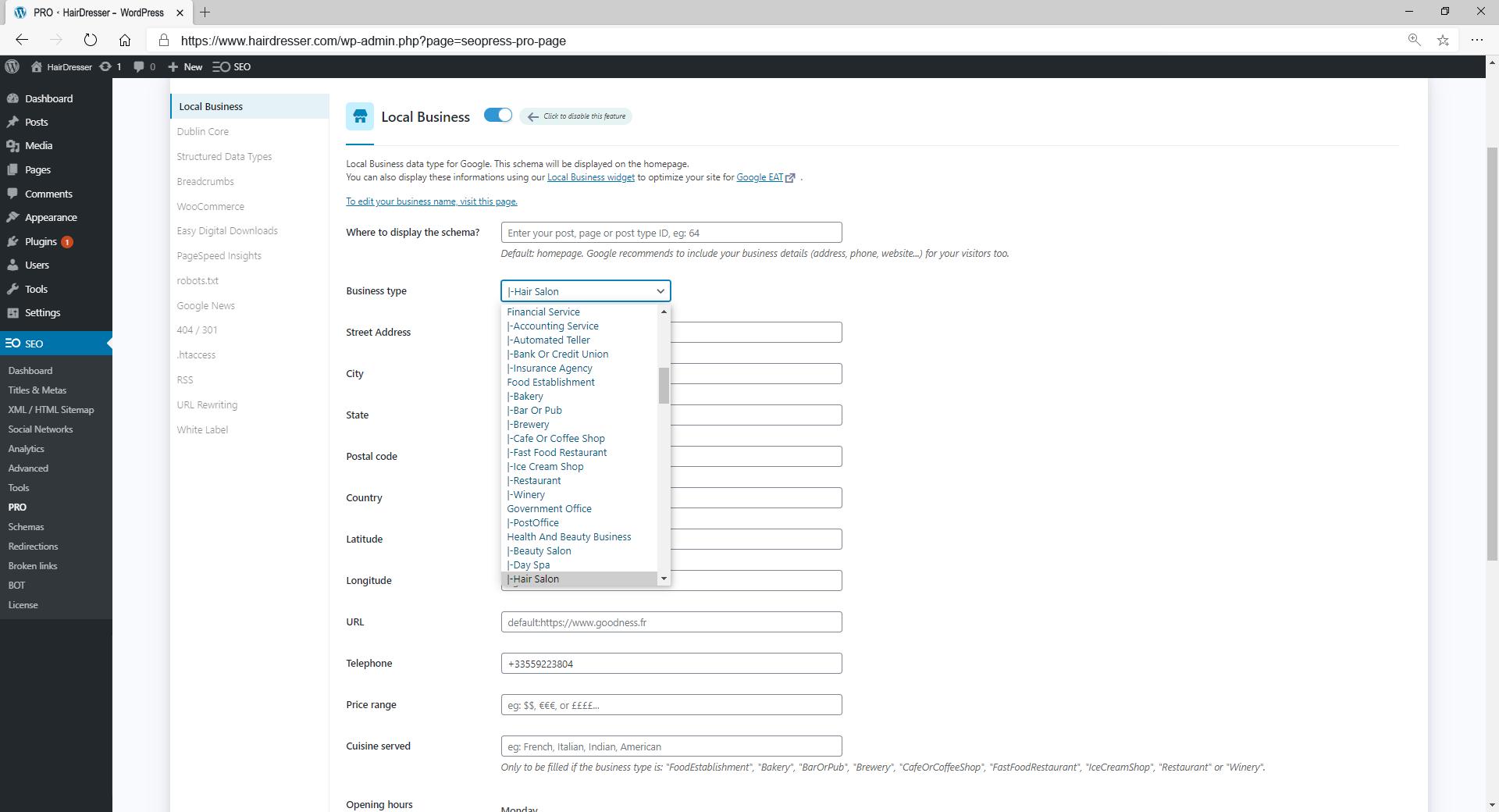 Adding Local Business Schema using SEOPress