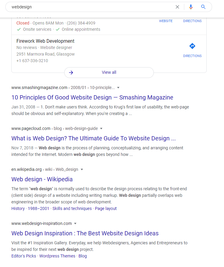 "Search results from a search for ""web design"" in Google.com for a user in Seattle"