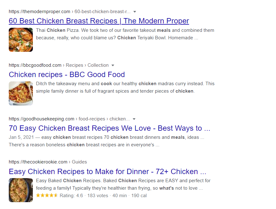 Google.co.uk search results. Three results have rich snippets from the Recipe schema. One does not.